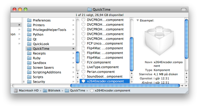 QuickTime folder in the main Library